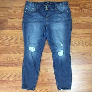 Torrid Premium Distressed Denim Jegging Jeans 22R